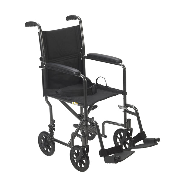 "Lightweight Steel Transport Wheelchair, Fixed Full Arms, 17"" Seat - Discount Homecare & Mobility Products"