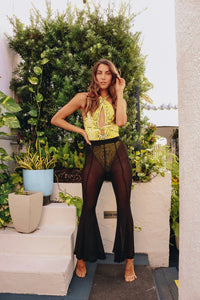 POLLY SHEER PANTS (FLARE BLACK) - Zoe All Over
