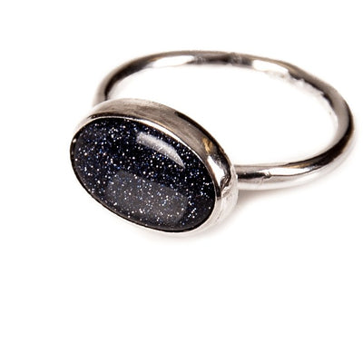 Silver Midi Blue Goldstone Ring