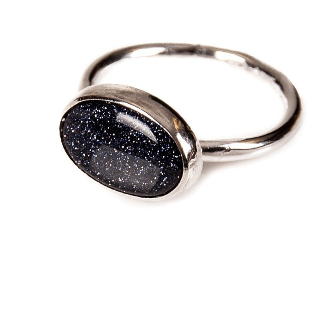 Midi Blue Goldstone Ring