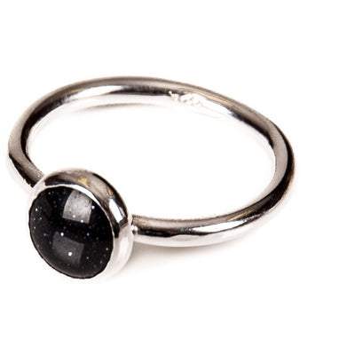 Mini Blue Goldstone Ring