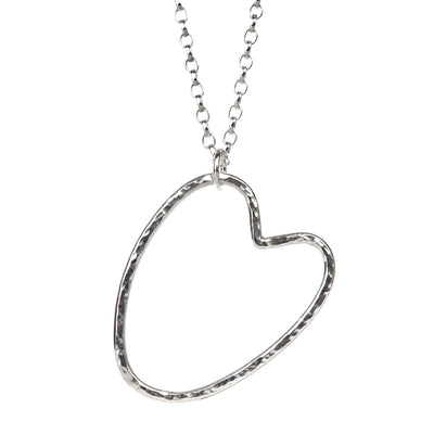 Silver Maxi Open Heart Necklace