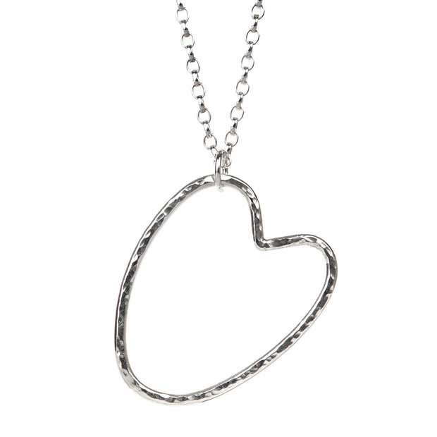 Open Hammered Heart Necklace