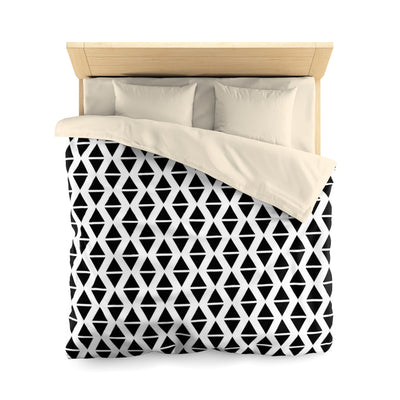 Microfiber Duvet Cover -  Black and White Triangles