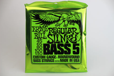 ERNIE BALL 2836 REGULAR SLINKY 5-STRING NICKEL WOUND ELECTRIC BASS STRINGS - 45-130 GAUGE