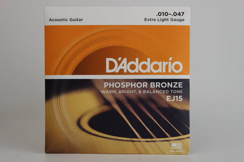 D'Addario EJ15 Phosphor Bronze Extra Light Acoustic Strings 10-47