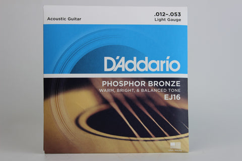 D'Addario EJ16 Light Phosphor Bronze Acoustic Guitar Strings 12-53