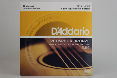 D'Addario EJ19 Phosphor Bronze Bluegrass Light Top/Medium Bottom Acoustic Strings 12-56