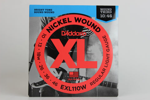 D'Addario EXL110W Nickel Wound Electric Strings - Regular Light Wound 3rd 10-46