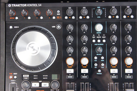 Native Instruments Traktor Kontrol S4 MKII with Odyssey Black Flight Zone Glide Style Case