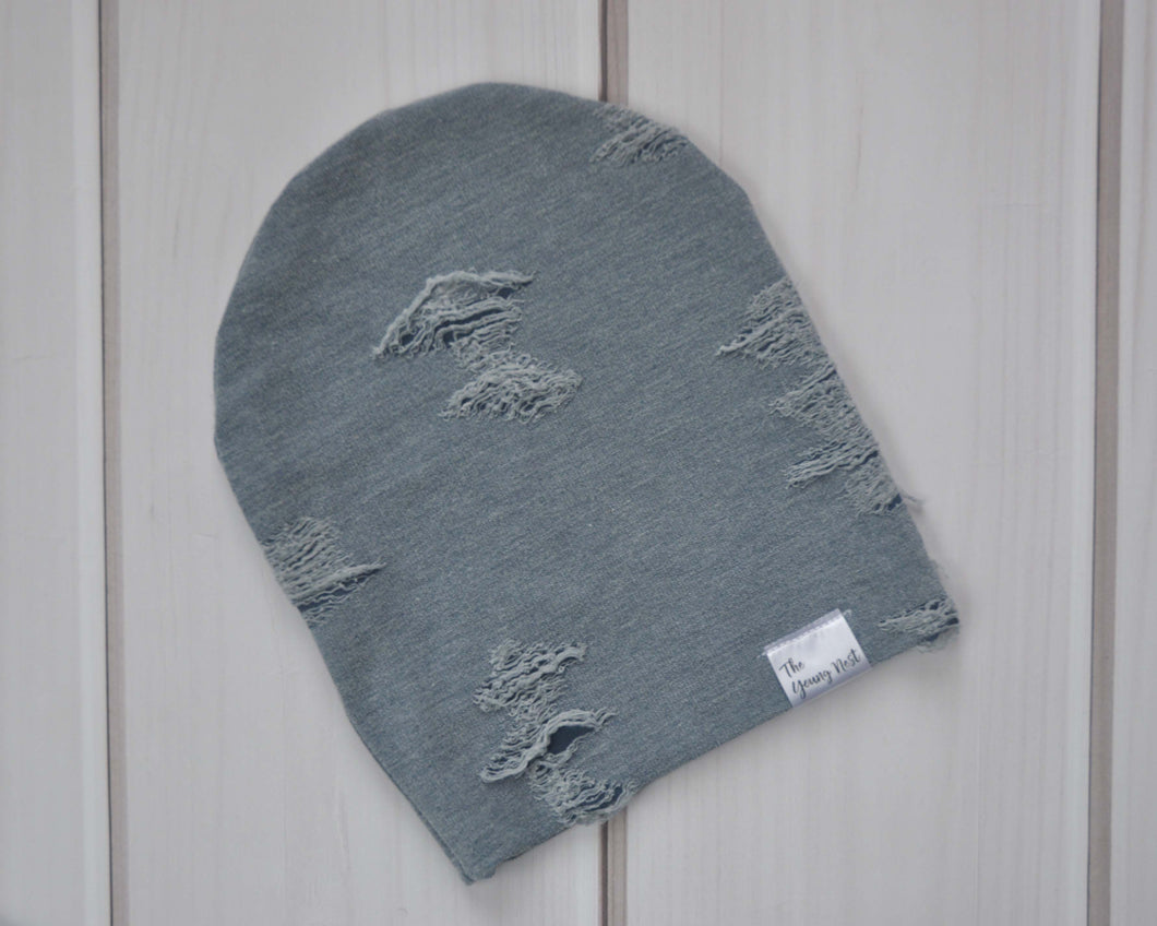 Slouchy Beanie - Blue Distressed