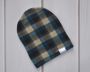 Slouchy Beanie - Blue Plaid