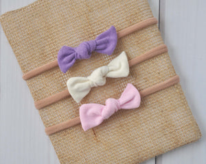 Set of Mini Bows on Nylon Headbands - Basics Cream