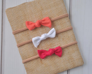 Set of Mini Bows on Nylon Headbands - Flamingo
