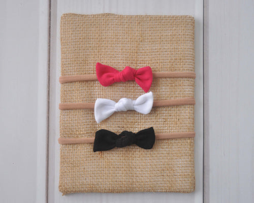 Set of Mini Bows on Nylon Headbands - Watermelon