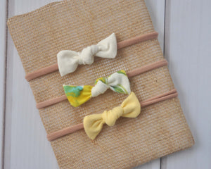 Set of Mini Bows on Nylon Headbands - Lemonade
