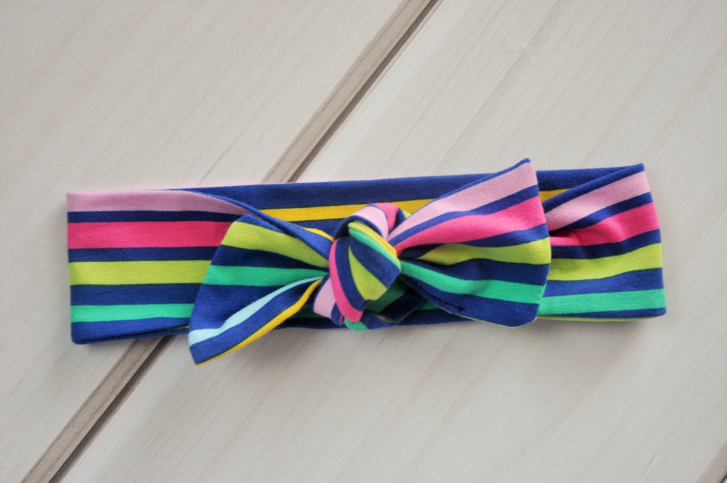 Top Knot Headband - Multi-coloured Stripes