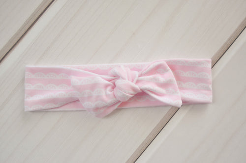 Top Knot Headband - Pink & White Lace