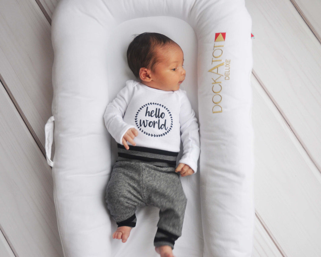 Baby Outfit / Coming Home Outfit - Hello World Salt & Pepper
