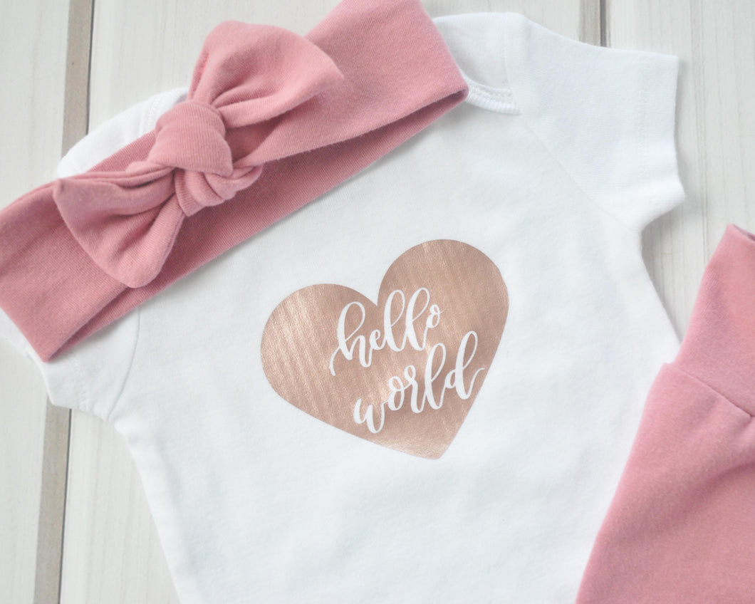 Baby Outfit - Coming Home Set - Rose Gold Hello World