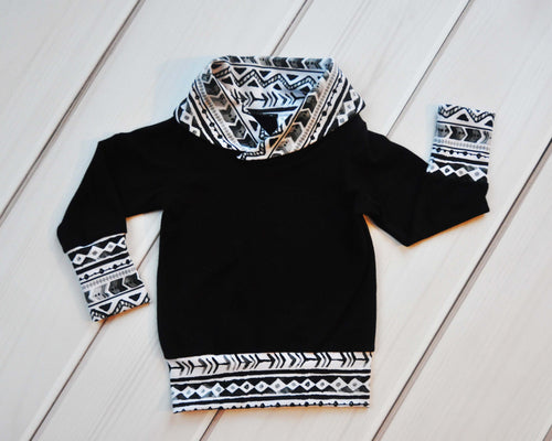 Grow with Me Cowl Neck Sweater - Monochrome Aztec