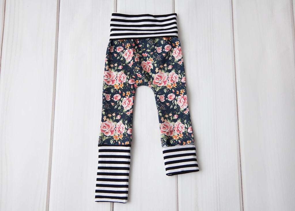 Grow With Me Leggings - Floral with Striped Cuffs
