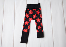 Grow With Me Leggings - Maple Leafs on Black