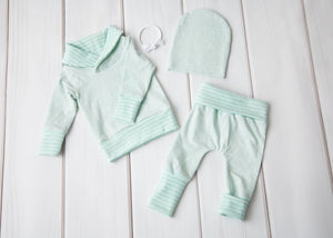 Grow with Me Cowl Neck Sweater - Mint Green with Stripes
