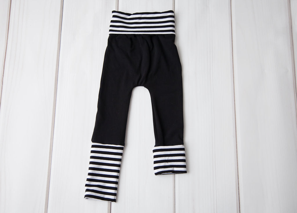 Grow With Me Leggings - Black with Striped Cuffs