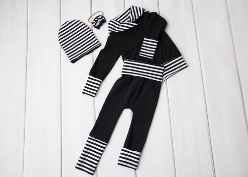 Grow with Me Cowl Neck Sweater - Black with Stripes