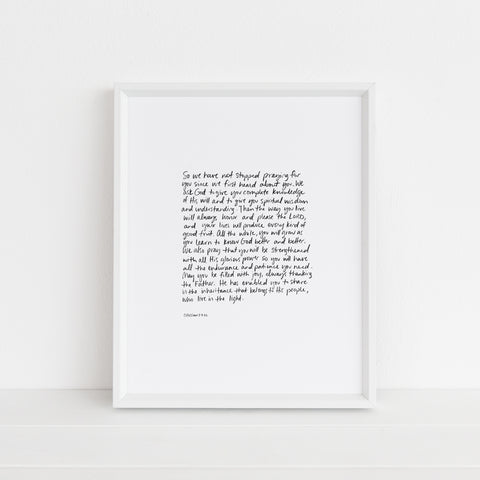 *LAST CHANCE* Colossians 1:9-12 | Art Print