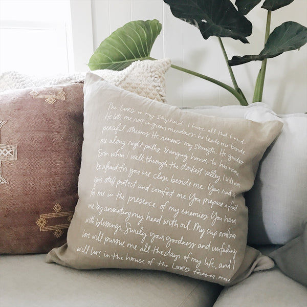 Psalm 23 (tan) | Throw Pillow Cover