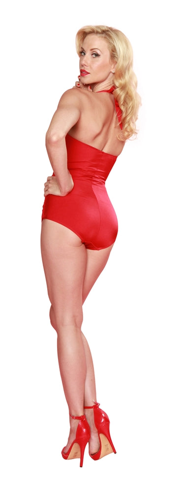Esther Williams Classic Sheath Solid Color Swim Suit - Red