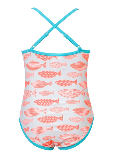 Snapper Rock Girls Spotty Fish Cross Back One-Piece Swimsuit, G13066