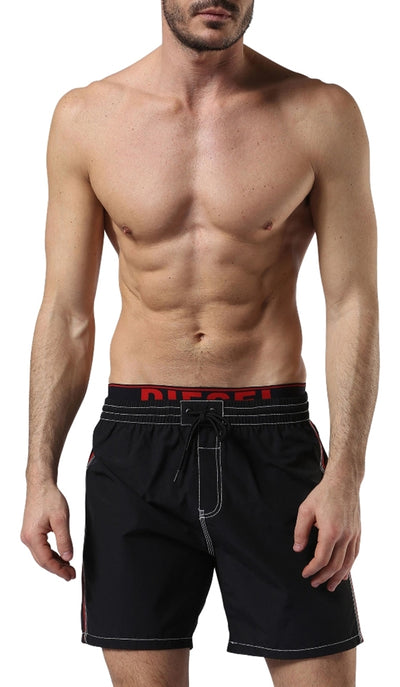 Diesel Men's Dolphin 2.017 Swim Shorts 00SVXPAKAKY - Black/Red