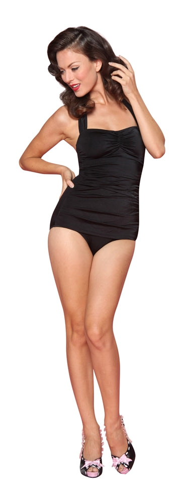 Esther Williams Classic Sheath Solid Color Swim Suit - Black