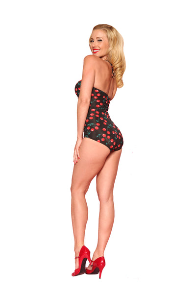 Esther Williams Cherries Delight Retro One-Piece Swimsuit E11014 - Black