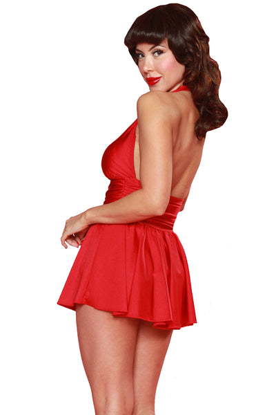 Esther Williams Retro Marilyn Halter Swimdress E08001 - Red
