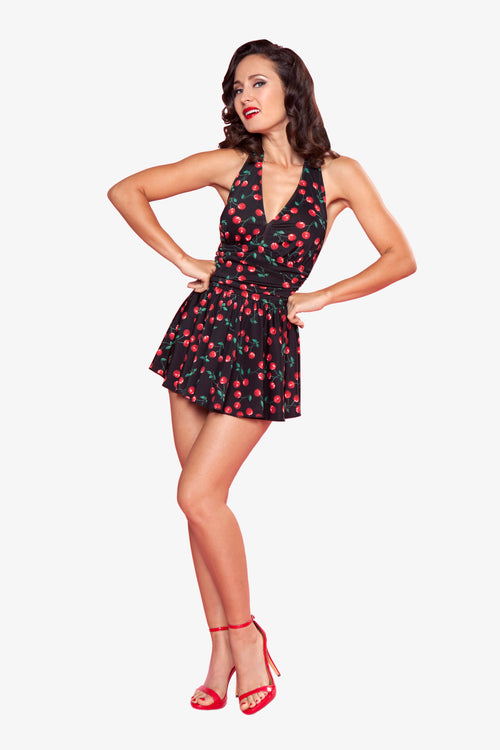 Esther Williams Cherries Delight Marilyn Swim Dress E08014 - Black