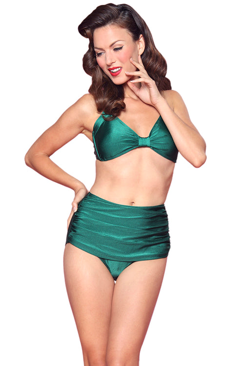 Esther Williams Retro Solid Two-Piece Swimsuit Halter Top E09001T - Green