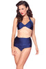 Esther Williams Retro Solid Two-Piece Swimsuit Halter Top E09001T - Navy