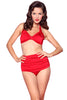 Esther Williams Retro High Waisted Solid Two-Piece Swimsuit Bottom E09001P - RED
