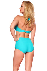 Esther Williams Retro Solid Two-Piece Swimsuit Halter Top E09001T - Teal