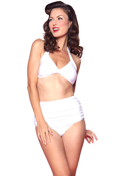 Esther Williams Retro Solid Two-Piece Swimsuit Halter Top E09001T - White