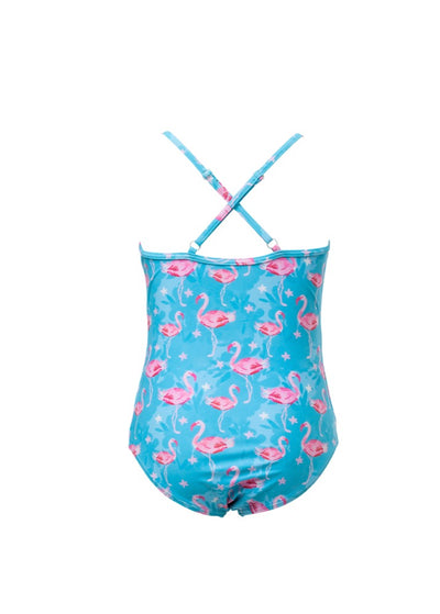 SnapperRock Girls Blue Flamingo Crossback Swimsuit G13101