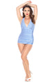 Bettie Page Halter One-Piece Skirted Swimsuit B17082 - Blue and White Picnic