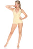 Bettie Page Halter One-Piece Skirted Swimsuit B17082 - Yellow and White Picnic