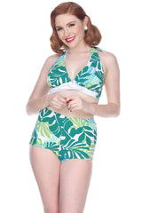Bettie Page High Waist Swim Shorts B23158P - Palmy Days
