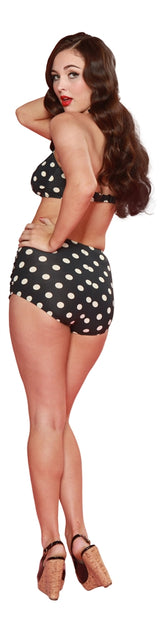 Esther Williams Classic Polka Dot Bathing Suit Bottom - Navy & Yellow