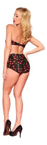 Esther Williams Cherries Classic Bathing Suit Top - Black